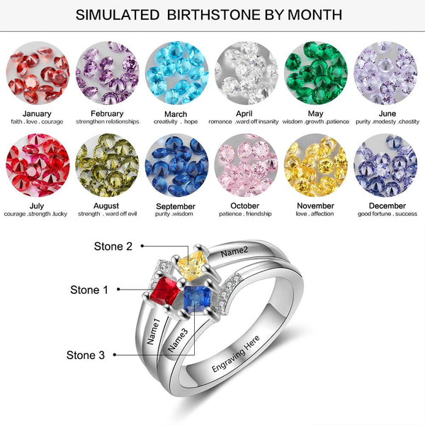 promise rings for her with 3 names and 3 birthstones