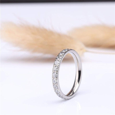promise rings for her - sparkling silver personalized eternity ring band