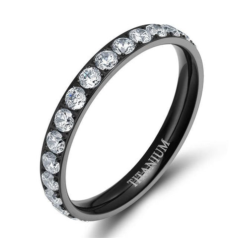 rings for her - simple black cubic zirconia womens ring gift