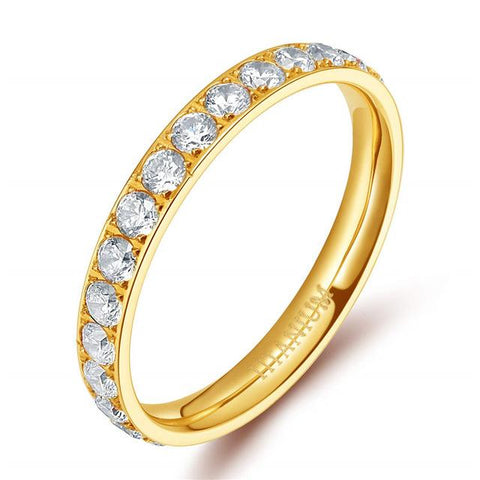 rings for her - simple gold cubic zirconia womens ring gift
