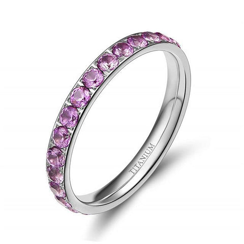 rings for her - simple pink cubic zirconia womens ring gift