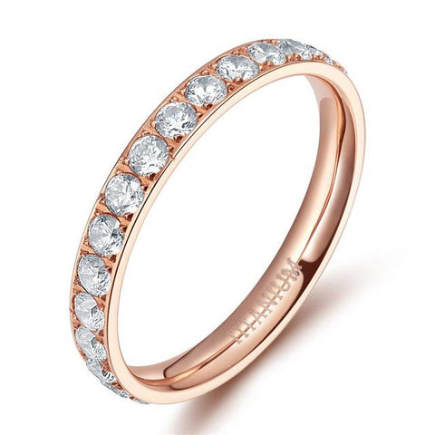 rings for her - simple rose gold cubic zirconia womens ring gift