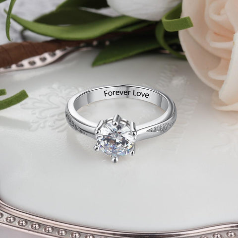 gifts for her - personalized zirconia diamond ring gift for women