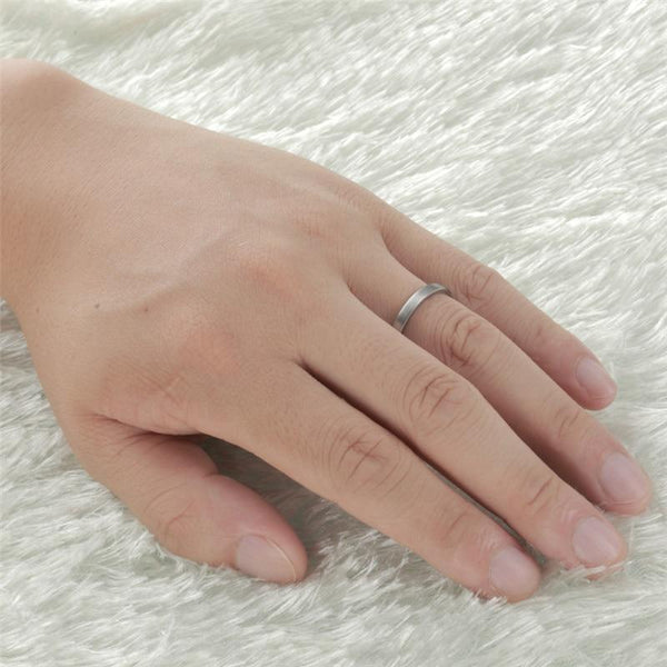 unisex promise rings - simple minimalist silver tungsten unisex band