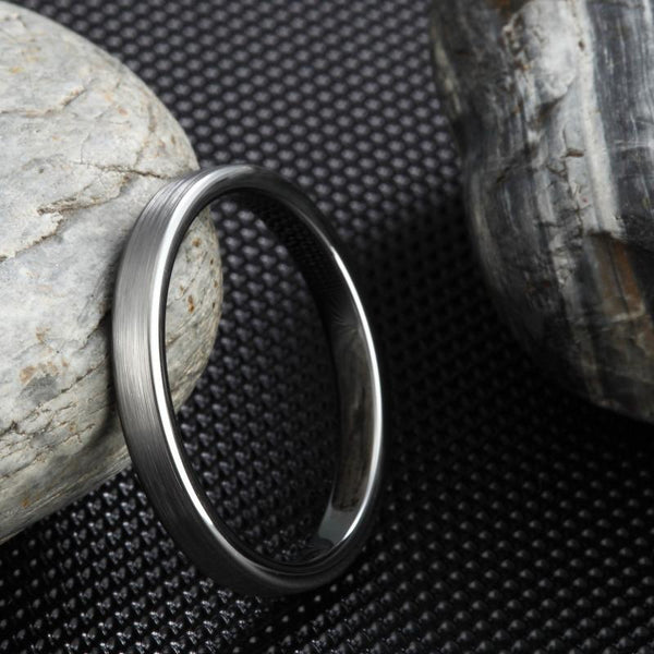 thin mens promise rings - simple minimalist silver tungsten male band