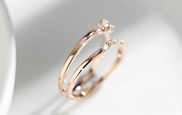 rings for her - rose gold simple minimalist cubic zirconia diamonds womens ring