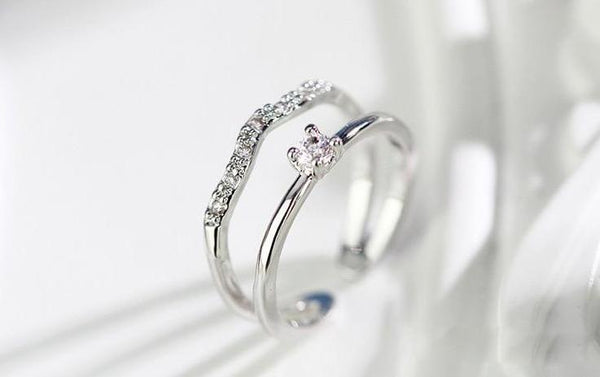 rings for her - silver simple minimalist cubic zirconia diamonds womens ring