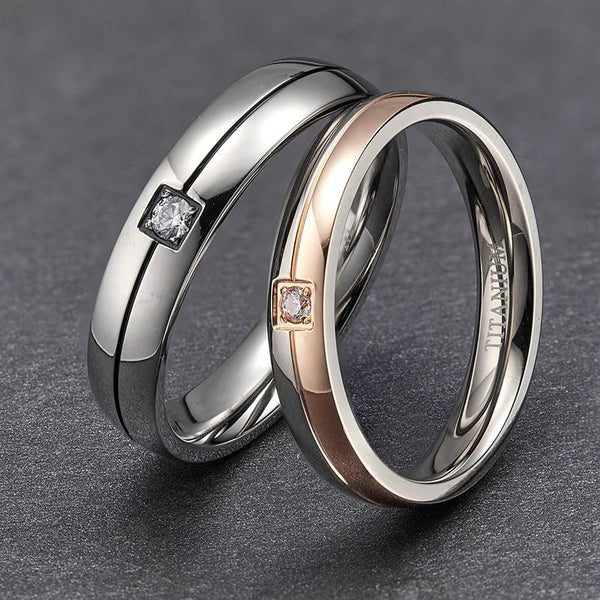 couples promise rings - matching silver and rose gold rings for him and her