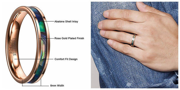 4mm Abalone Shell Rose Gold Tungsten Ring