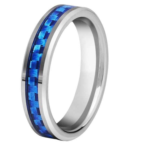 4mm Blue Carbon Fiber Inlay Silver Tungsten Womens Ring