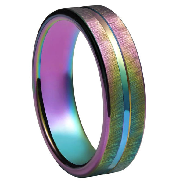 LGBT Gay Promise Rings - 4mm Colorful Rainbow Tungsten Mens Ring