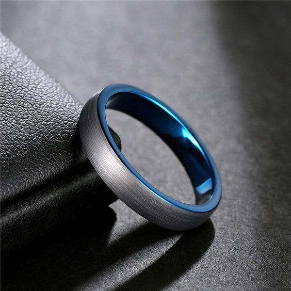 mens engagement ring - blue silver I Love You male ring band