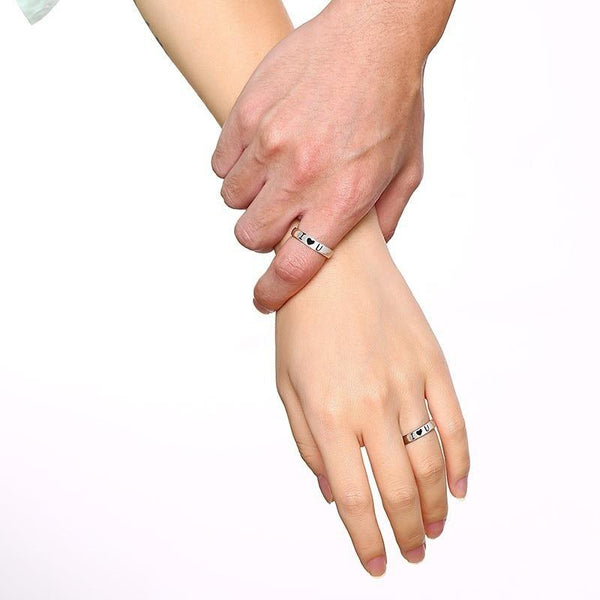 promise rings for him and her - silver I love you rings