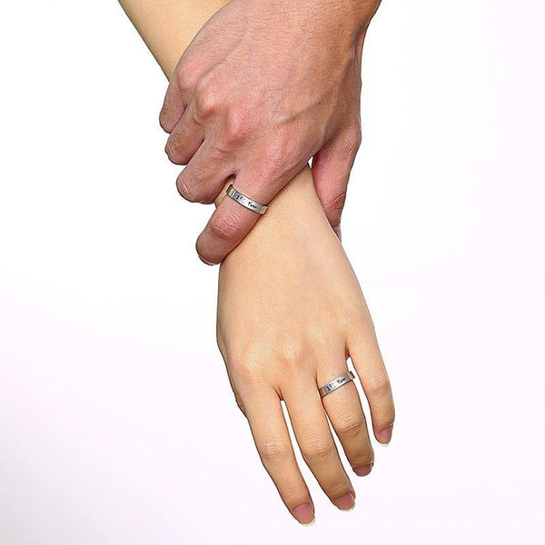 couples promise rings - boyfriend and girlfriend matching rings