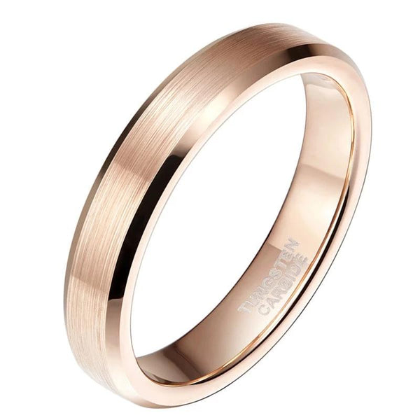 4mm Rose Gold Brushed Tungsten Womens Ring