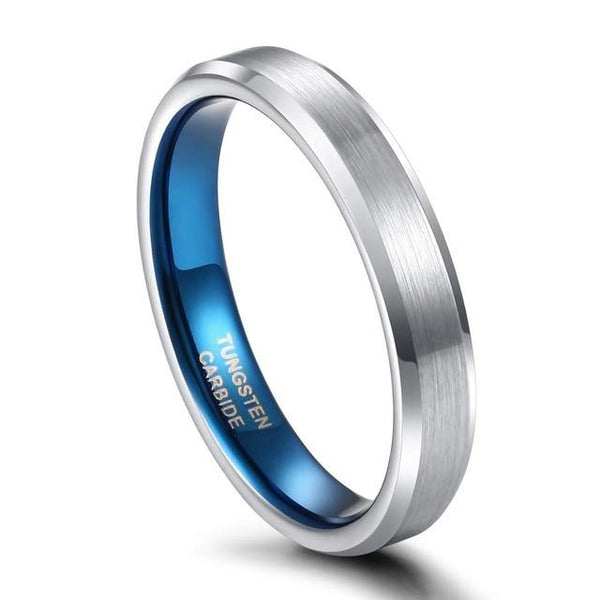 Mens rings - Thin silver blue tungsten male band