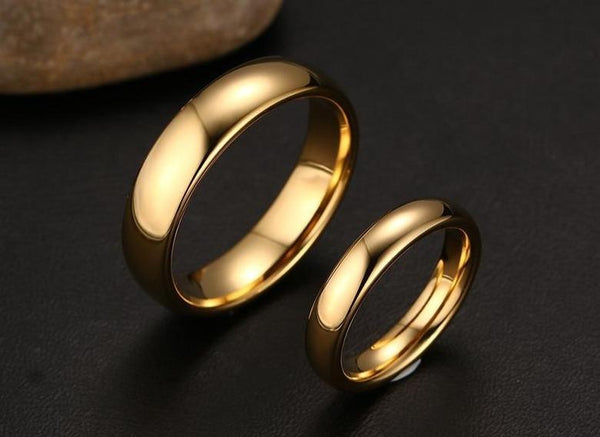 Matching ring bands for him and her - Polished Gold Color Couples Rings