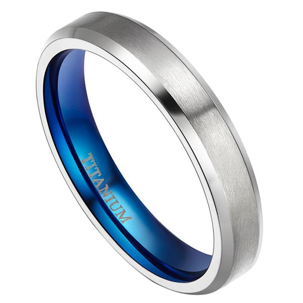 mens promise rings - blue silver titanium male rings gifts