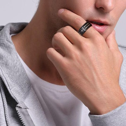 North south east west compass black mens ring