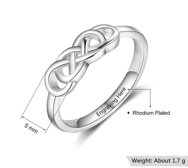 Celtic knot personalized sterling silver ring for women