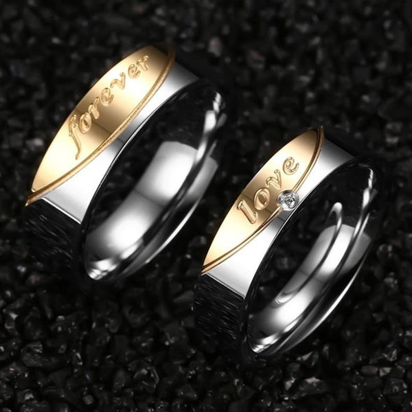 matching couple rings for him and her silver and gold