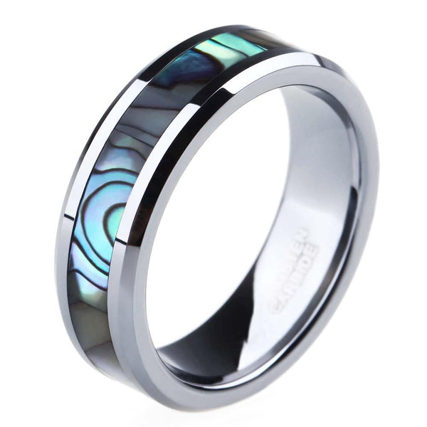 matching couples rings - abalone silver tungsten rings set