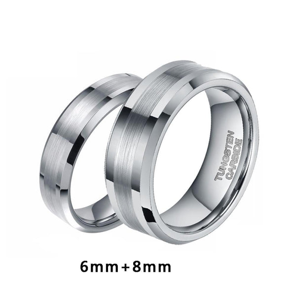 promise rings for couples - silver tungsten matching rings