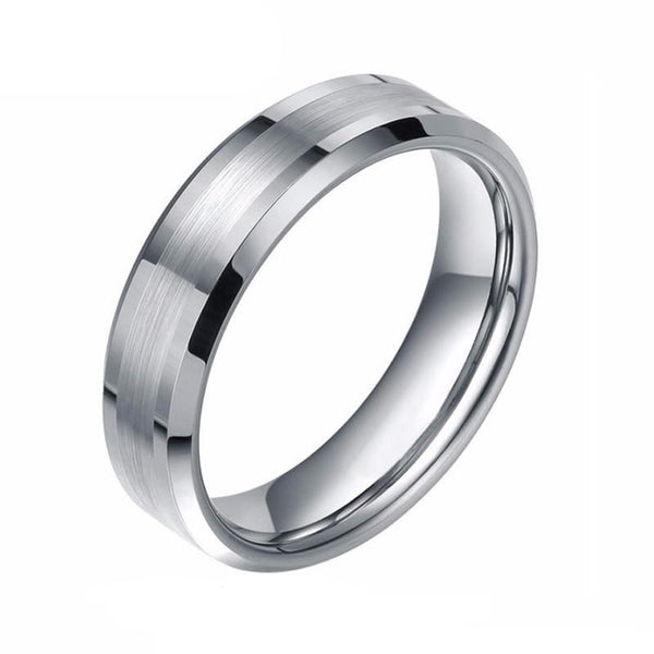 mens promise rings - silver tungsten male rings