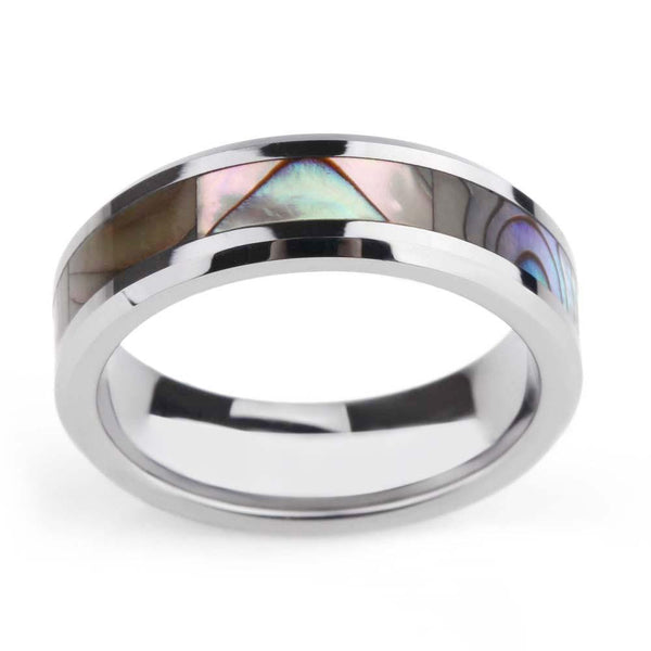 Mens rings - Abalone Shell Inlay Titanium Silver Ring