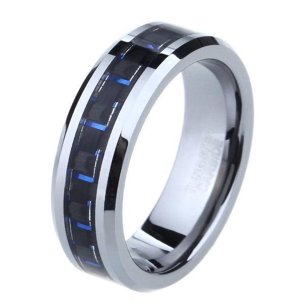mens promise rings - silver blue ring for him
