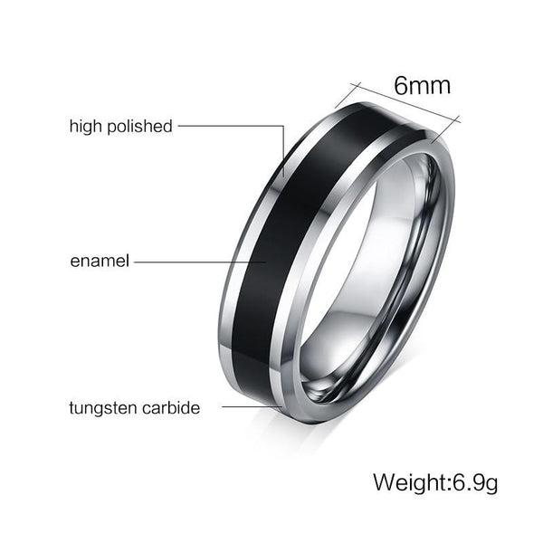 mens promise rings - black and silver tungsten ring band