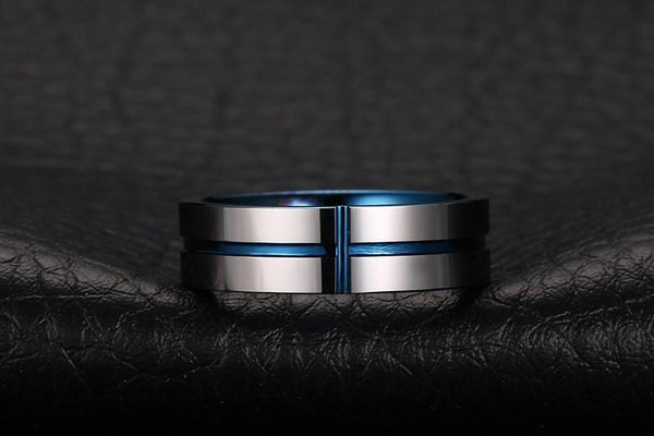 Christian cross ring - personalized silver blue rings