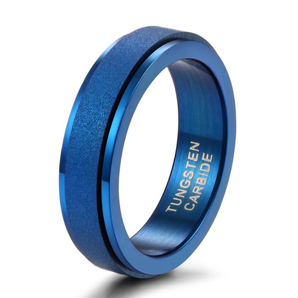 Blue personalized mens spinner rings