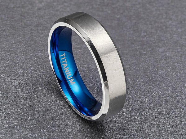 mens promise rings - silver blue personalized custom ring gift