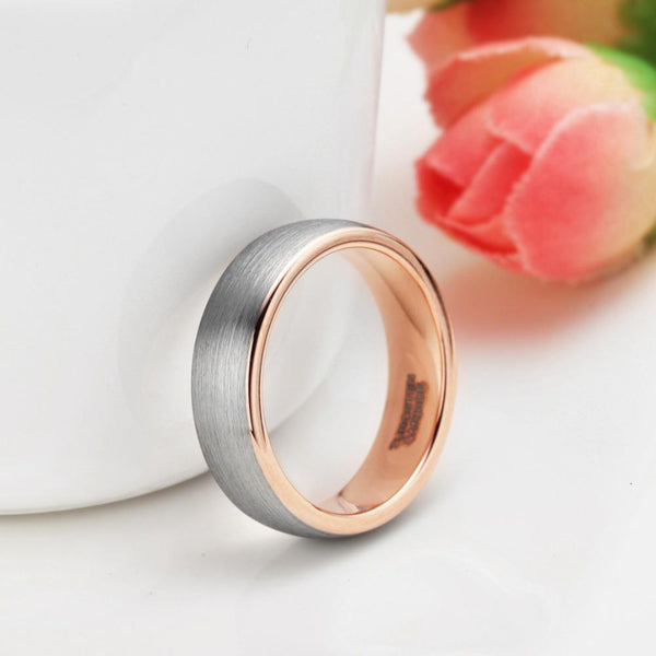 Personalized mens silver and rose gold ring