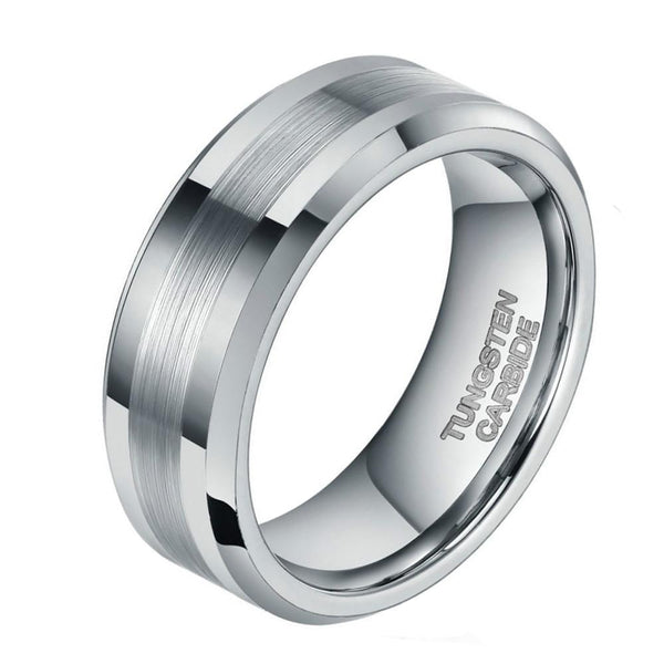 Promise Rings - Silver Tungsten Mens Ring