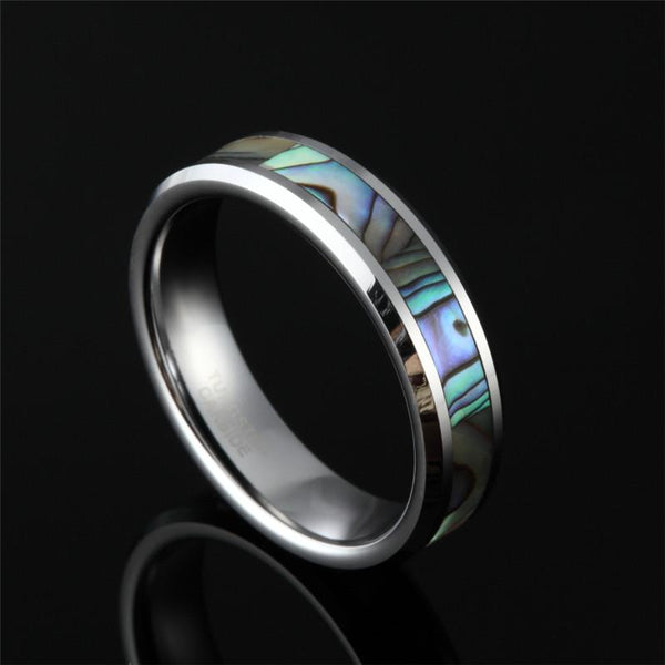 rings for him - Abalone tungsten silver mens ring