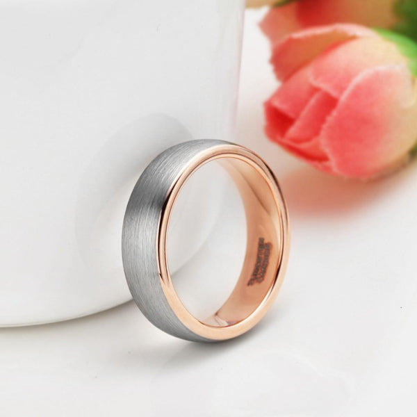 Mens promise rings - rose gold silver personalized male rings