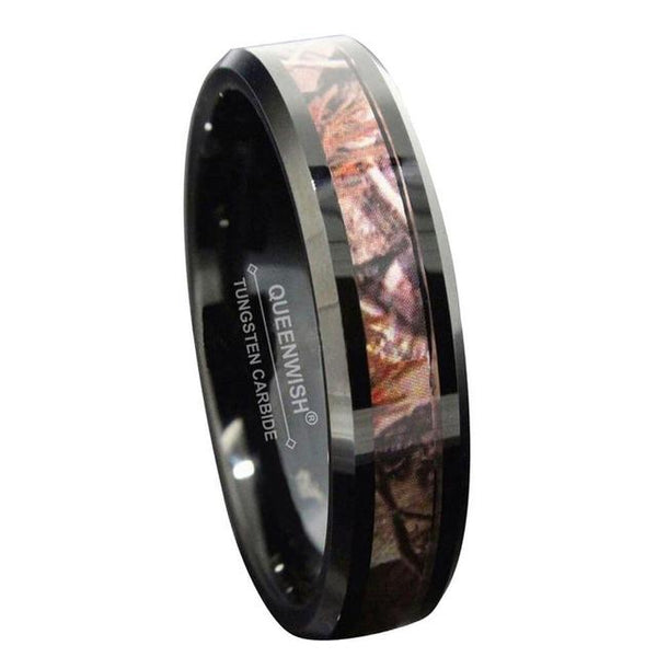 Mens camo ring - personalized black male ring band