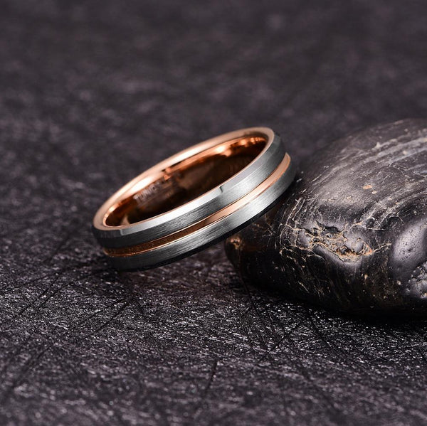 6mm Rose Gold and Silver Tungsten Men's Ring