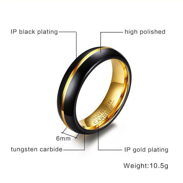 black and gold mens personalized ring