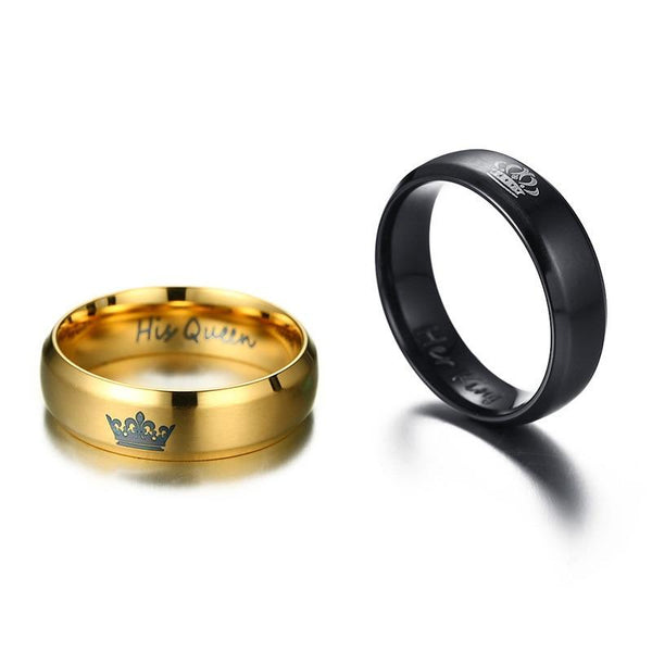 Couples rings - King and queen crown stainless steel rings