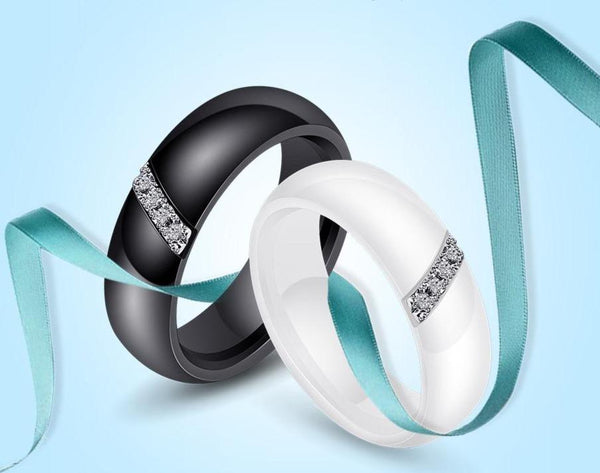 6mm Lined Crystals Ceramic Unisex Rings