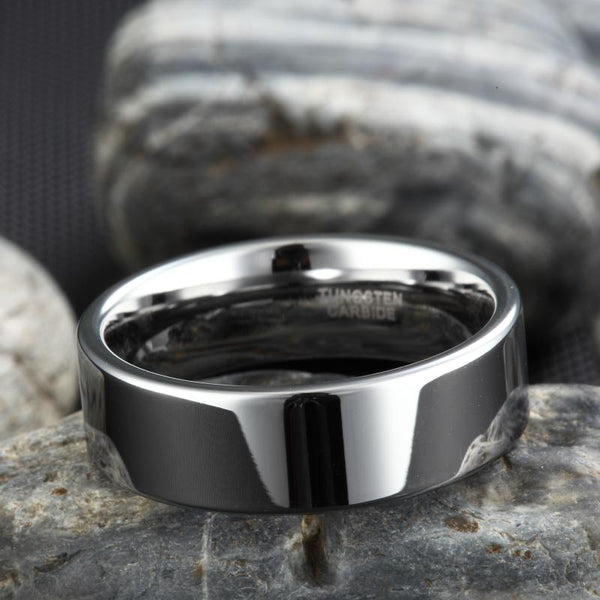 Personalized polished silver Tungsten mens ring