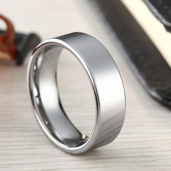 mens promise rings - silver Tungsten mens ring