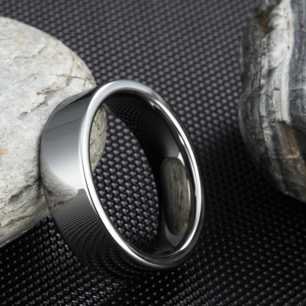 6mm Luxury High Polished Flat Silver Tungsten Mens Ring