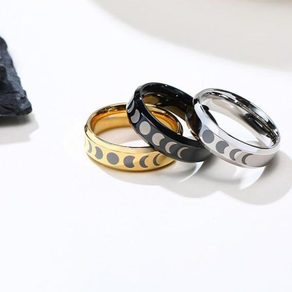 Moon Lunar space phase stainless steel ring