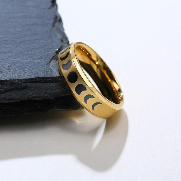 Moon Lunar space phase gold stainless steel ring
