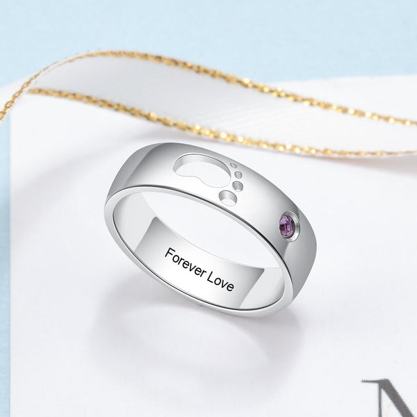Mothers birthstone ring - childs baby foot and personalized birthstone