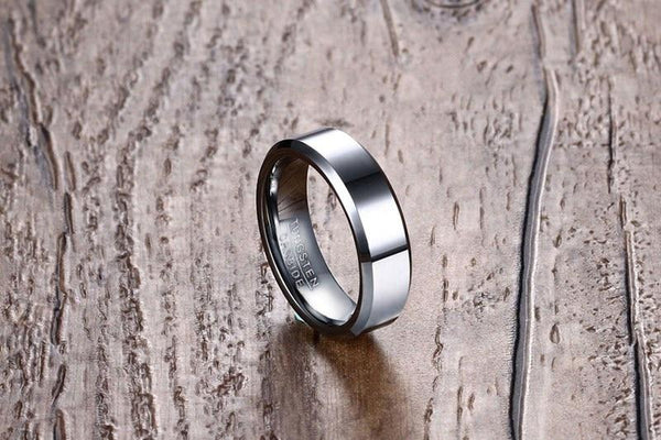 6mm Personalized Polished Silver Tungsten Unisex Ring